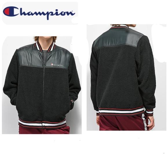 Champion Life Black Satin Baseball Jacket  Big C Logo Men/'s Sz M BNWT Authentic!